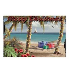 merry christmas beach Postcards (Package of 8)