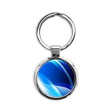 Blue Graphic Round Keychain