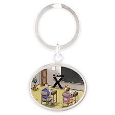 Pi_69 Mean Teacher (20x16 Color) Oval Keychain