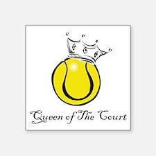 "tennis queen Square Sticker 3"" x 3"""