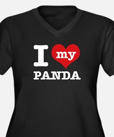 i love my Panda Women's Plus Size V-Neck Dark T-Sh