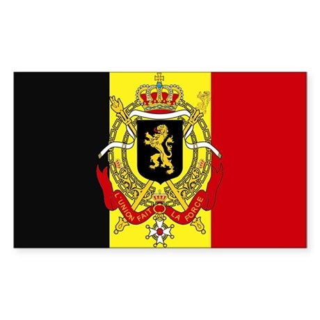 Belgium w/ coat of arms Rectangle Sticker