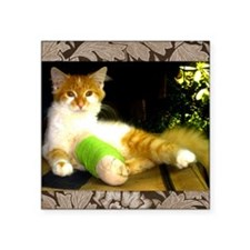 "Kitty with a leg cast Square Sticker 3"" x 3"""