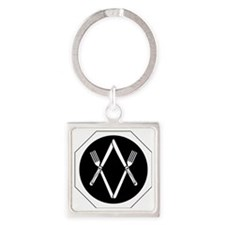 Fork and Knife Square Keychain