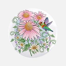 "Hummingbird Floral 3.5"" Button"