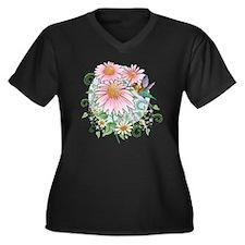 Hummingbird  Women's Plus Size Dark V-Neck T-Shirt