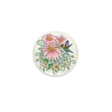 Hummingbird Floral Mini Button