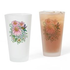 Hummingbird Floral Drinking Glass