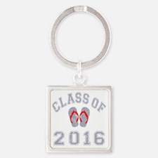 Class Of 2016 Flip Flop Grey-Red 2 Square Keychain