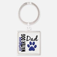 D Portuguese Water Dog Dad 2 Square Keychain