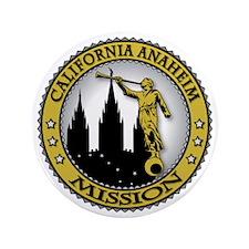 """California Anaheim LDS Mission Angel M 3.5"""" Button"""