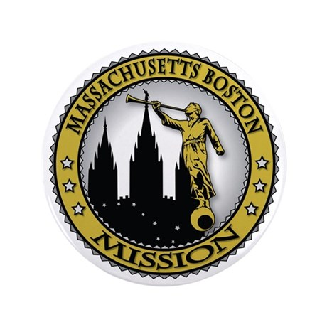 "Massachusetts Boston Mission Angel Mor 3.5"" Button"
