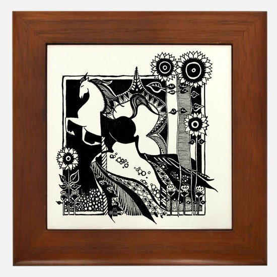 jr._jersey_t-shirt_6x6_horse_black Framed Tile