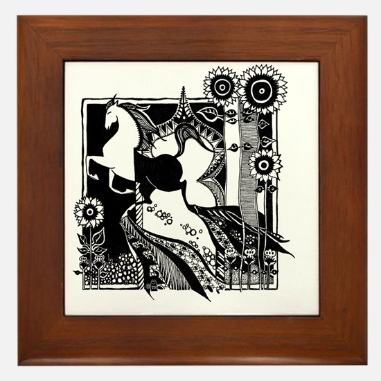jr._jersey_t-shirt_10x10_horse_black Framed Tile