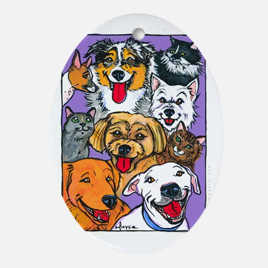 Furry Family Oval Ornament