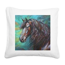 Zelvius the Friesian horse Square Canvas Pillow