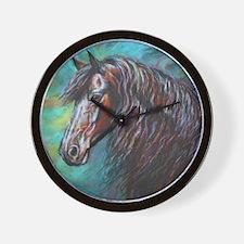 Zelvius the Friesian horse Wall Clock