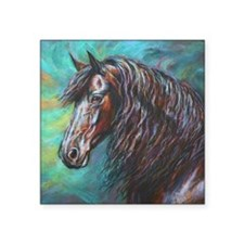 """Zelvius the Friesian horse Square Sticker 3"""" x 3"""""""