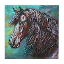 Zelvius the Friesian horse Tile Coaster
