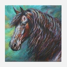 Zelvius the Friesian horse Tile Coaster