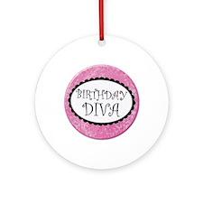 Birthday Diva Round Ornament