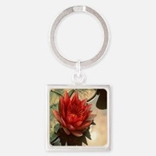 red water lily Square Keychain