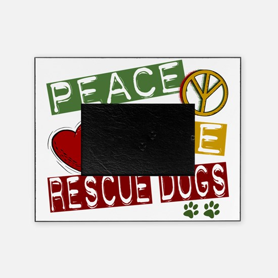 D Peace Love Rescue Dogs 1 Picture Frame