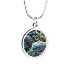 rushing water Silver Round Necklace