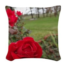 Red Roses in Park Woven Throw Pillow