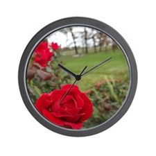 Red Roses in Park Wall Clock