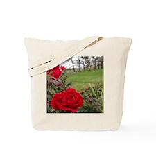 Red Roses in Park Tote Bag