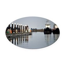 Tugs of La Conner © AD Richards 00 Oval Car Magnet