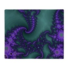 fractalPurpGrnSwrl Throw Blanket
