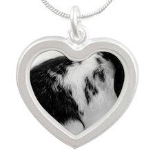 Comet side profile Silver Heart Necklace