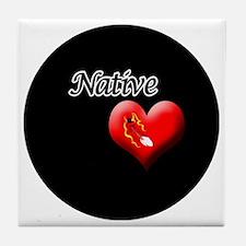 Native-feather-Button Tile Coaster