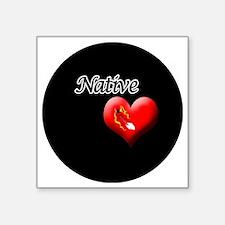 """Native-feather-Button Square Sticker 3"""" x 3"""""""
