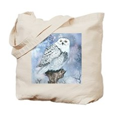 snowy owl square Tote Bag