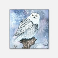 "snowy owl square Square Sticker 3"" x 3"""