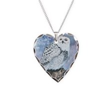 snowy owl square Necklace Heart Charm