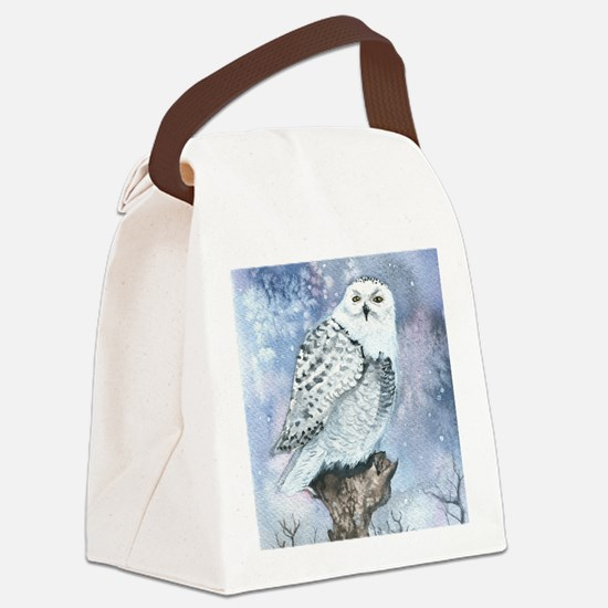 snowy owl square Canvas Lunch Bag