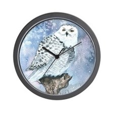 snowy owl square Wall Clock