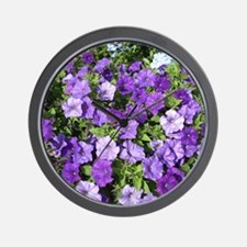 Purple Petunias Wall Clock