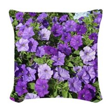 Purple Petunias Woven Throw Pillow