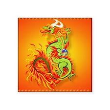 "apparel Flaming Dragon-Chin Square Sticker 3"" x 3"""