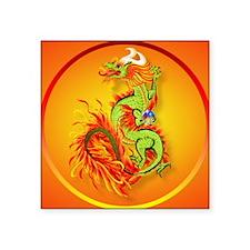 "circleFlaming Dragon-Chines Square Sticker 3"" x 3"""