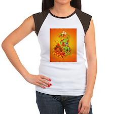 IPad Sleeve Flaming Dra Women's Cap Sleeve T-Shirt