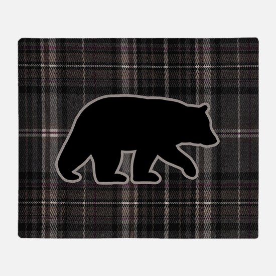 bearplaidpillowdrk Throw Blanket