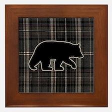 bearplaidpillowdrk Framed Tile