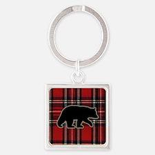 bearplaidpillow Square Keychain