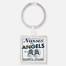 Nurses Are Angels in Comfy Shoes Square Keychain